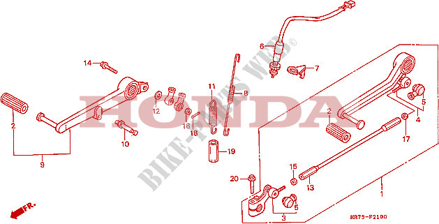 PEDAL TRAVAOES/PEDAL MUDANCAS para Honda RC30 750 1988